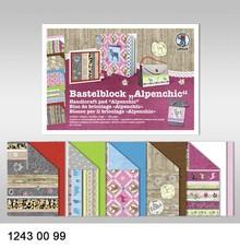 "DESIGNER BLÖCKE  / DESIGNER PAPER Crafting block ""Alpine Chic"", block = 16 sheets, 24x34cm, 300g, printed on both sides"