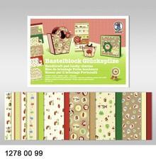 "DESIGNER BLÖCKE  / DESIGNER PAPER Crafting block ""lucky"", block = 16 sheets, 24x34cm, 300g, printed on both sides"