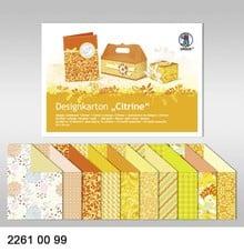 """DESIGNER BLÖCKE  / DESIGNER PAPER Design board """"Citrine"""" block of 20 sheets, 24x34cm, 200g, printed on both sides"""