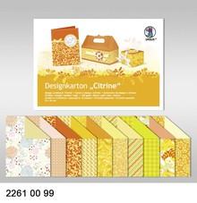 "DESIGNER BLÖCKE  / DESIGNER PAPER Designkarton ""Citrine"", Block á 20 Blatt, 24x34cm, 200gr, doppelseitig bedruckt"