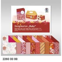 """Diseño de cartón """"Ruby"""", el bloque de 20 hojas, 24x34cm, 200g, impreso por ambos lados"""