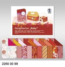 """DESIGNER BLÖCKE  / DESIGNER PAPER Design cardboard """"Ruby"""", block of 20 sheets, 24x34cm, 200g, printed on both sides"""