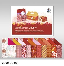 "DESIGNER BLÖCKE  / DESIGNER PAPER Designkarton ""Ruby"", Block á 20 Blatt, 24x34cm, 200gr, doppelseitig bedruckt"