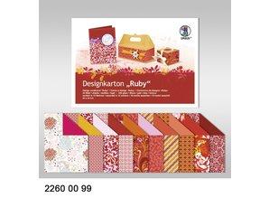 """DESIGNER BLÖCKE  / DESIGNER PAPER Design cardboard """"Ruby"""", block of 20 sheets,"""