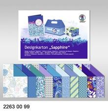 """DESIGNER BLÖCKE  / DESIGNER PAPER Design board """"Sapphire"""", block of 20 sheets, 24x34cm, 200g, printed on both sides"""