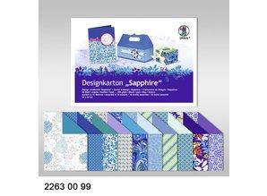 """DESIGNER BLÖCKE  / DESIGNER PAPER Tablero de Diseño """"Sapphire"""", bloque de 20 hojas,"""