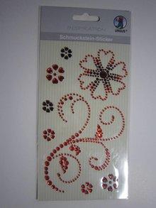 """Embellishments / Verzierungen Schmuckstein-Sticker,"""" Ornamente"""", rot"""