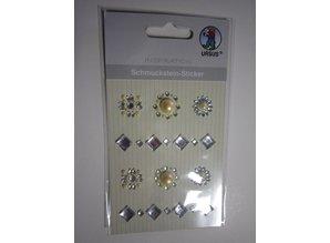 """Embellishments / Verzierungen Gemstone stickers, medallions """", silver"""