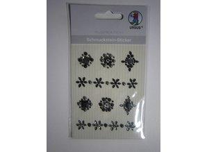 """Embellishments / Verzierungen Gemstone stickers, medallions """", Black"""