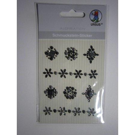 """Embellishments / Verzierungen Schmuckstein-Sticker, Medaillons"""", schwarz"""