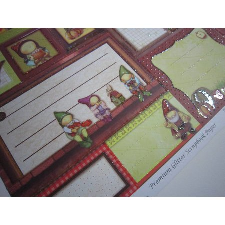 "Designer Papier Scrapbooking: 30,5 x 30,5 cm Papier Premium Glitter Scraphook paper, ""Wichtel"", 190g/qm,"