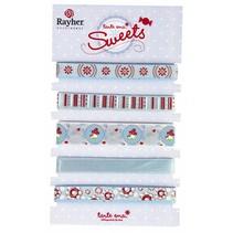 5 cintas decorativas carecen de 90cm: tonos rojos / azules