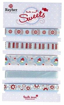 DEKOBAND / RIBBONS / RUBANS ... 5 dekorative bånd á 90cm: blå / røde toner