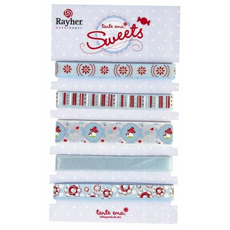 DEKOBAND / RIBBONS / RUBANS ... 5 decorative ribbons á 90cm: blue / red tones