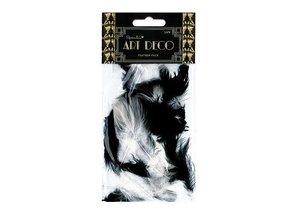 Embellishments / Verzierungen Feder Pack, schwarz-Weiß 30Stück