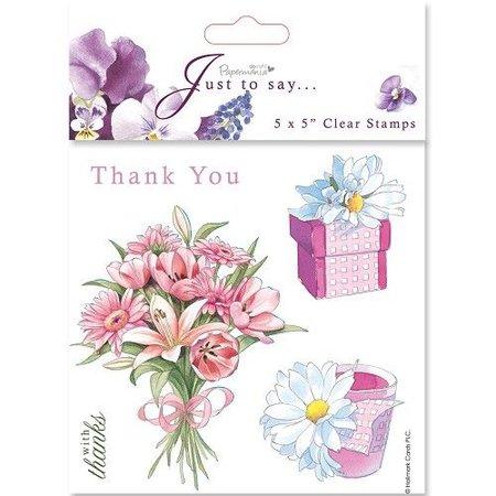 Stempel / Stamp: Transparent 18x18cm, Clear stempels - Bedankt / Thank You (5 personen)