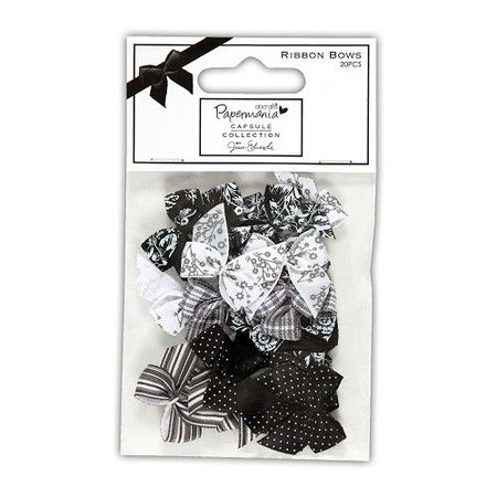 Docrafts / Papermania / Urban Satin Mini Schleifen (20Stück), Bexley Black