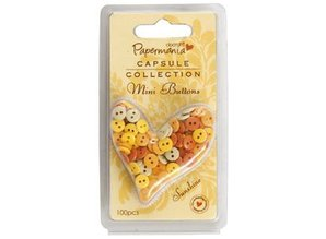 Docrafts / Papermania / Urban Mini buttons - capsule (100pc) sunshine