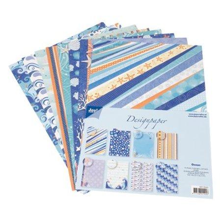 DESIGNER BLÖCKE  / DESIGNER PAPER Bloque Diseñador de Joy Crafts, 16 hojas, A4, Océano,