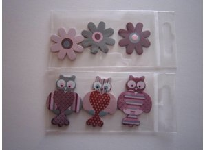 Embellishments / Verzierungen 6 painted wooden figures, 25-45 mm, owl and flowers