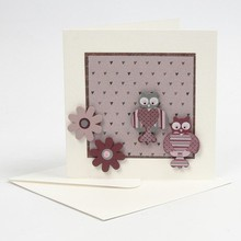Embellishments / Verzierungen 6 bemalte Holzfiguren, 25-45 mm, Eule und Blumen