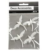"""Embellishments / Verzierungen Deco Accessories:"""" Libelle"""", weiß mit Glitter"""