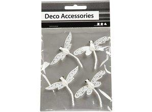 """Embellishments / Verzierungen Decorating Accessories: """"dragonfly"""", white with glitter"""
