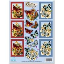 """3D gestanst plaatwerk graveren, """"Gallery vlinders rood-h'blau"""""""