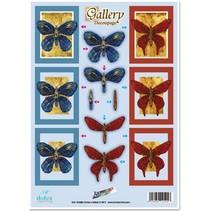 """3D-Stanzbogen Metallgravur, """"Gallery Schmetterlinge """""""