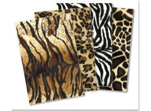 DESIGNER BLÖCKE  / DESIGNER PAPER Plush karton sortiment: Tiger, Panther, Zebra, Giraf