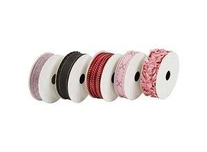 DEKOBAND / RIBBONS / RUBANS ... Set decorative ribbons, pink / red / green tones