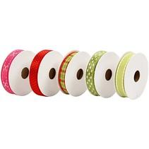 Set dekorative bånd, rød / grønne toner