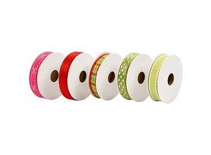 DEKOBAND / RIBBONS / RUBANS ... Set dekorative bånd, rød / grønne toner