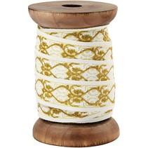 Exklusives, gewebtes Band auf Holzspule, creme/gold