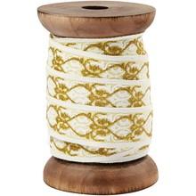 DEKOBAND / RIBBONS / RUBANS ... Esclusivo, nastro tessuto su bobina di legno, crema / oro