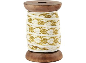 DEKOBAND / RIBBONS / RUBANS ... Exclusive, woven tape on wooden spool, cream / gold