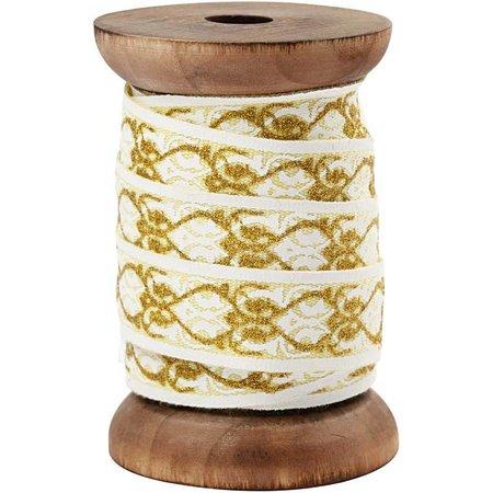DEKOBAND / RIBBONS / RUBANS ... Exklusives, gewebtes Band auf Holzspule, creme/gold