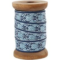 Exklusives, gewebtes Band auf Holzspule, grau/hellblau
