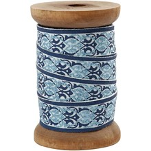 DEKOBAND / RIBBONS / RUBANS ... Exclusive, woven tape on wooden spool, gray / light blue