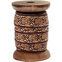 Exclusivo, cinta tejida en carrete de madera, marrón / crema