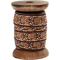 Exklusives, gewebtes Band auf Holzspule,braun/creme