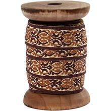 DEKOBAND / RIBBONS / RUBANS ... Esclusivo, nastro tessuto su bobina di legno, marrone / crema