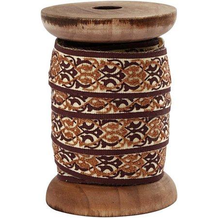DEKOBAND / RIBBONS / RUBANS ... Exclusivo, cinta tejida en carrete de madera, marrón / crema