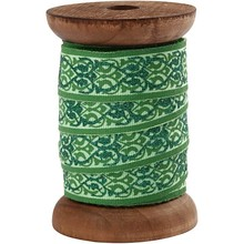 DEKOBAND / RIBBONS / RUBANS ... Exclusive, woven tape on wooden spool green