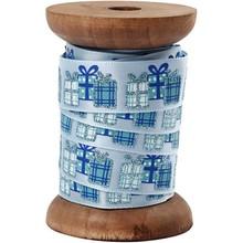 DEKOBAND / RIBBONS / RUBANS ... Satin ribbon on wooden spool, light blue