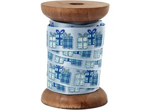 DEKOBAND / RIBBONS / RUBANS ... Satin ribbon on wooden spool, light blue