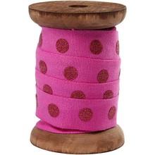 DEKOBAND / RIBBONS / RUBANS ... Nastro in cotone sulla bobina di legno, rosso
