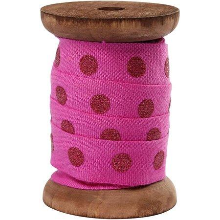 DEKOBAND / RIBBONS / RUBANS ... Cinta de algodón en el carrete de madera, rojo