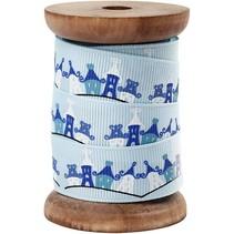 Exklusives, Ripsband auf Holzspule, hellblau