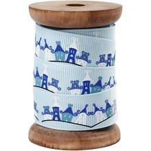 DEKOBAND / RIBBONS / RUBANS ... Exclusive grosgrain ribbon on wooden spool, light blue